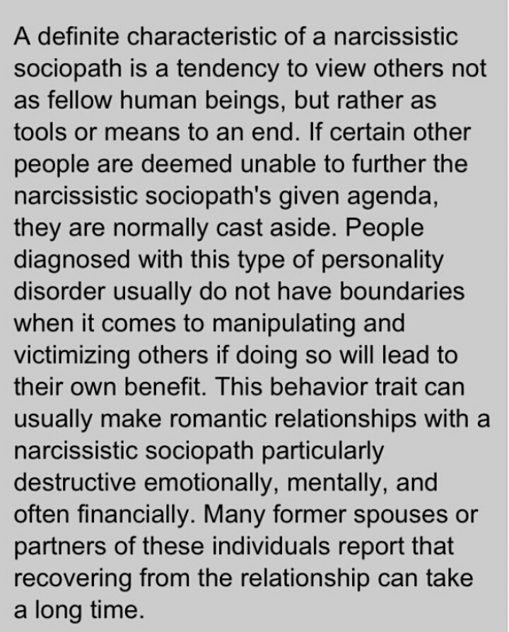 Narcissistic sociopath characteristics