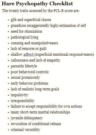 hare psychology checklist