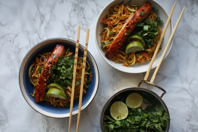 Teriyaki Salmon with Lime Infused Egg and Courgette Noodles