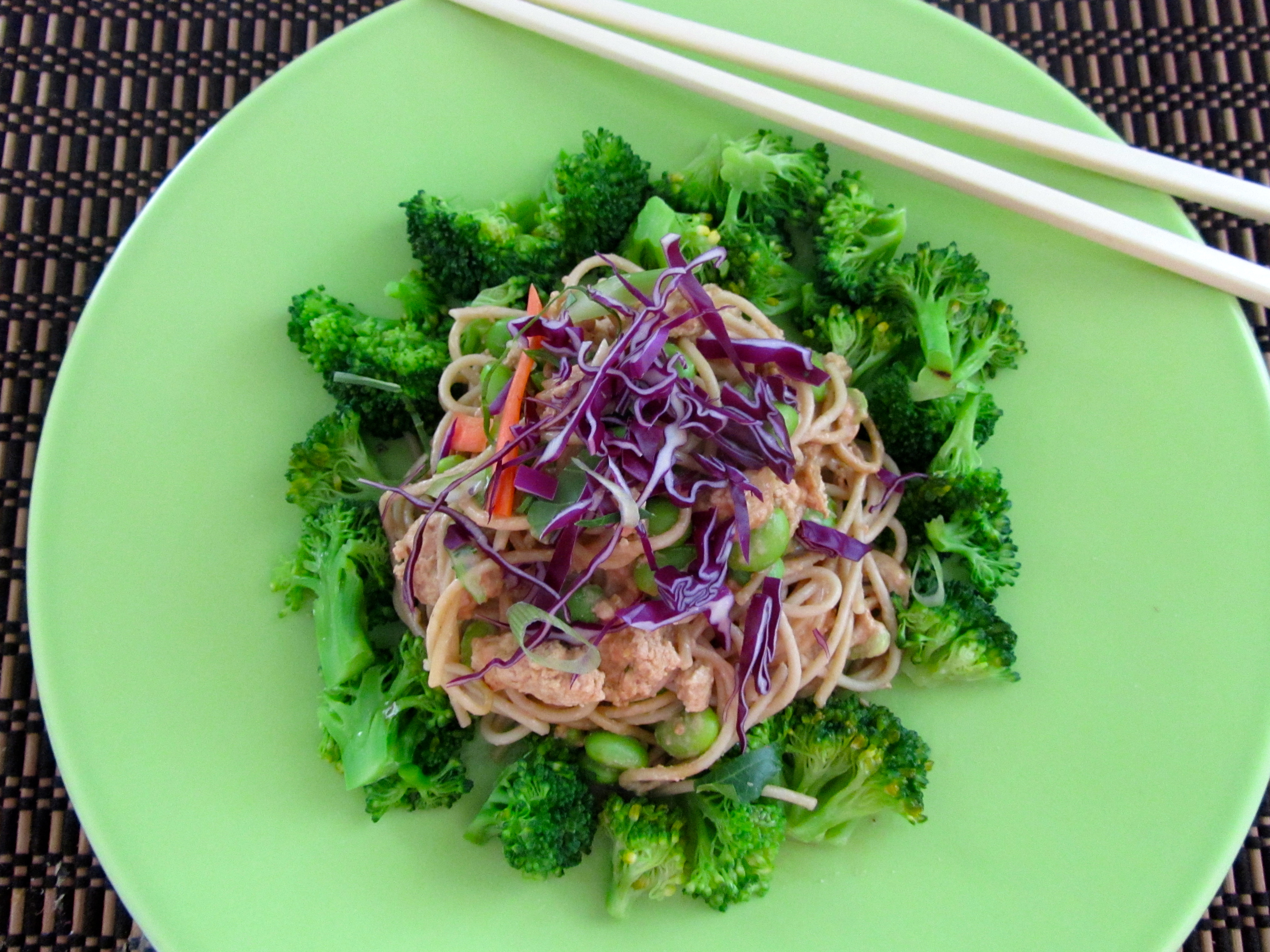Sesame Noodles with Ginger-Soy Braised Tofu and Steamed Broccoli